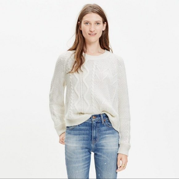 Madewell Block Stitch Cable Sweater
